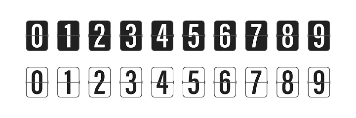 Countdown clock counter timer. Vector icon on white background.  Collection of mechanical flip countdown numbers.Timer, scoreboard. 10 eps