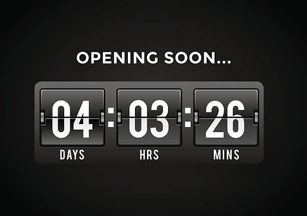 Countdown clock digits board panels timer vector art illustration