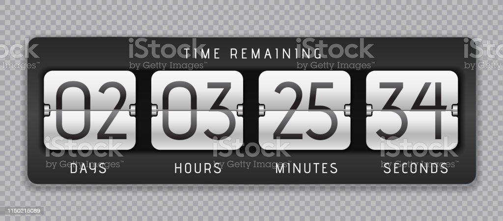 Countdown flip clock. Digital counter, analog time or scoreboard,...