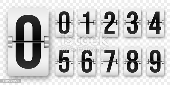 Countdown numbers flip counter. Vector isolated 0 to 9 retro style flip clock or scoreboard mechanical numbers set black on white