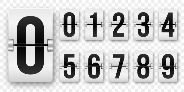 Countdown numbers flip counter. Vector isolated 0 to 9 retro style flip clock or scoreboard mechanical numbers set black on white Countdown numbers flip counter. Vector isolated 0 to 9 retro style flip clock or scoreboard mechanical numbers set black on white counting stock illustrations