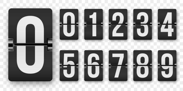 countdown-zahlen flip-counter-vektor isolierten satz. retro-stil flip-uhr oder anzeigetafel mechanische nummern 1 bis 0 gesetzt weiß auf schwarz - flipchart stock-grafiken, -clipart, -cartoons und -symbole