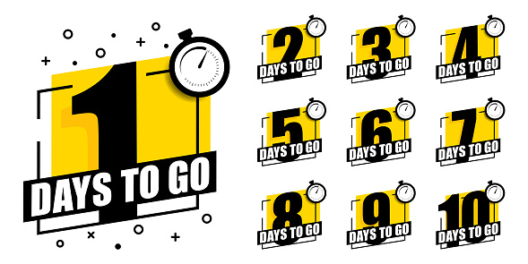 Countdown of days 1,2,3,4,5,6,7,8,9,10. The days left badges. A countdown is going on, one day I left a badge and a label to calculate the date of work. Offer timer, sticker limited to a few days.