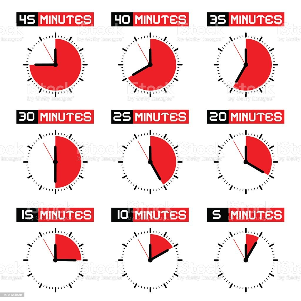 Countdown Stopwatch Set vector art illustration