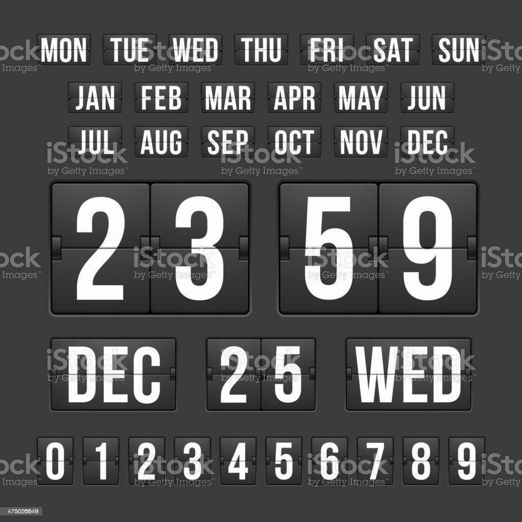 Countdown Timer and Date, Calendar Scoreboard royalty-free stock vector art