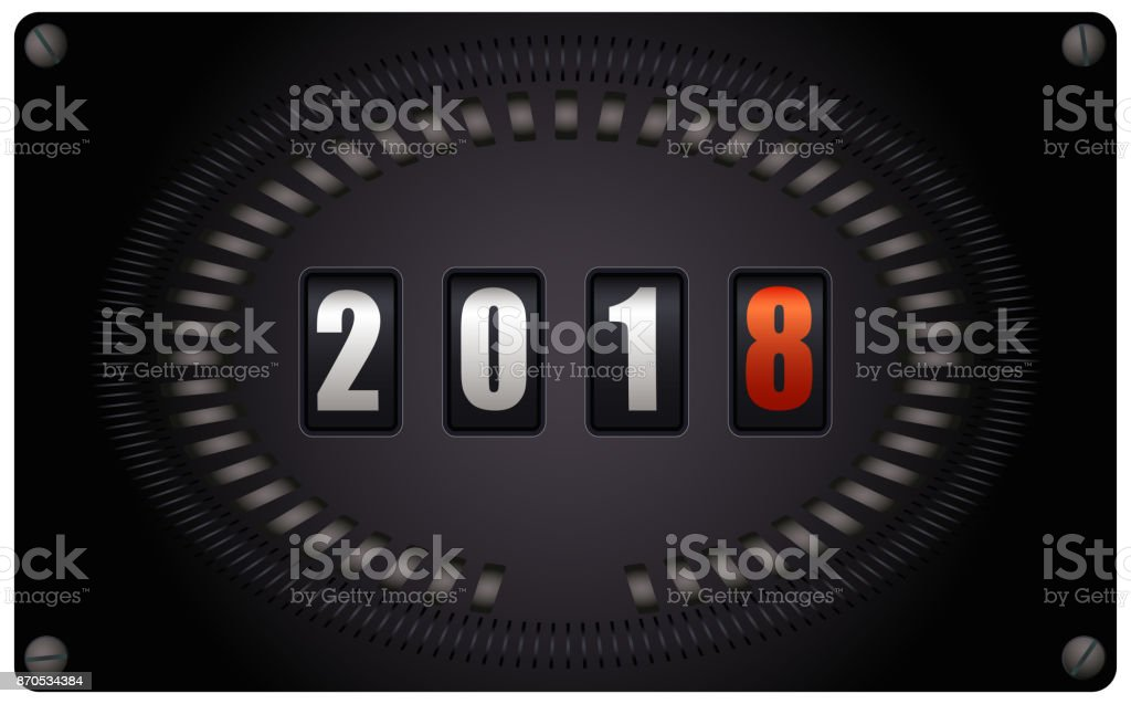 Countdown Timer On Speedometer New Year 2018 Stock Vector