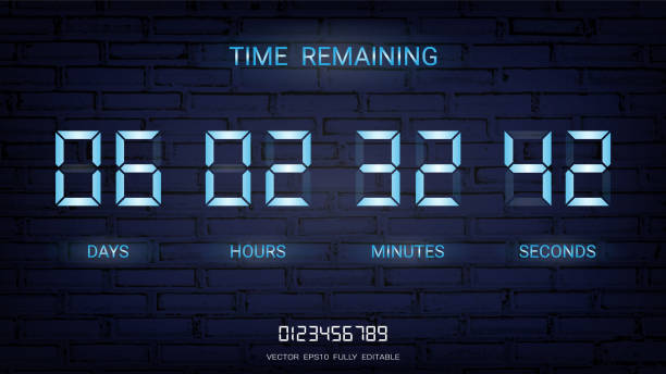Countdown timer remaining or Clock counter scoreboard with days, hours, minutes and seconds display, Neon glow on a dark background for web page coming soon or under construction (Vector EPS10) vector art illustration