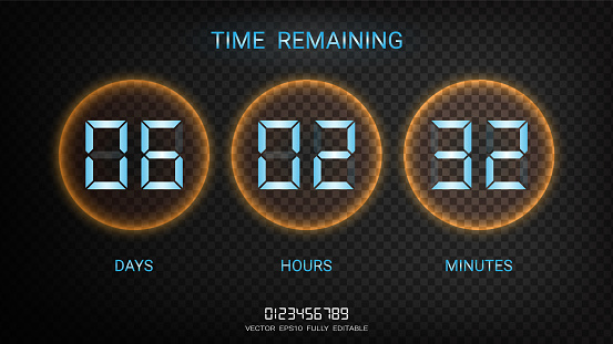 Countdown timer remaining or Clock counter scoreboard with days, hours and minutes display, Neon glow on a dark background for web page coming soon or under construction (EPS10 vector fully editable)