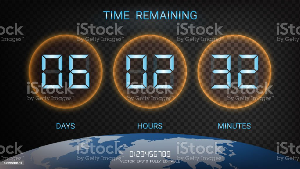 countdown timer remaining or clock counter scoreboard with days