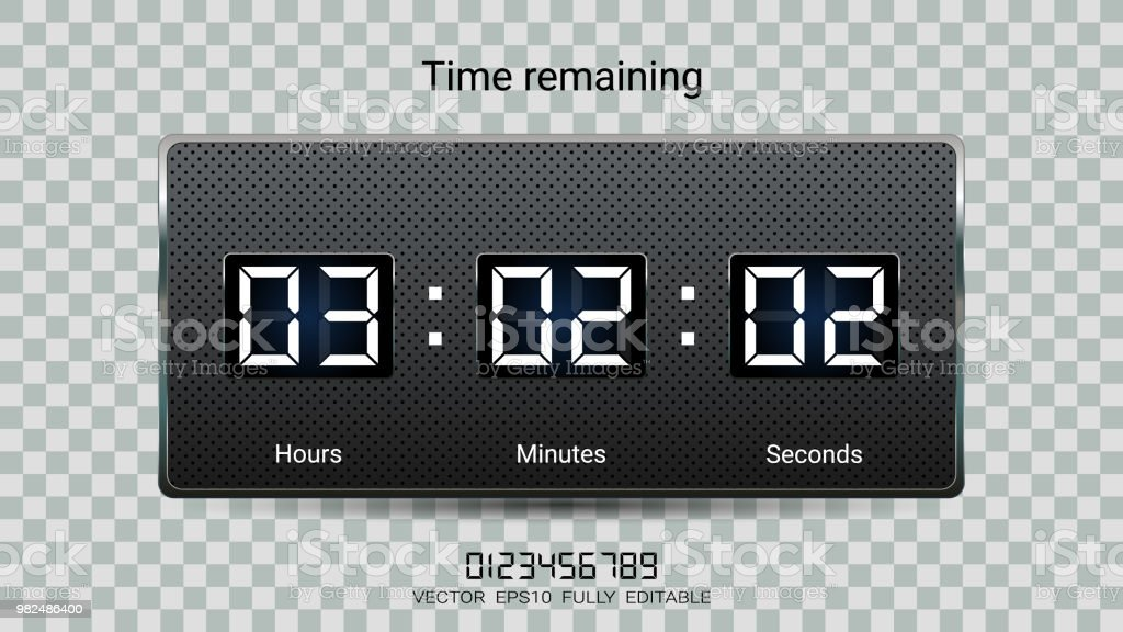 countdown timer remaining or clock counter scoreboard with hour