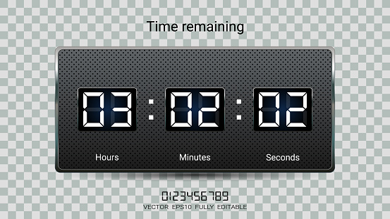 Countdown timer remaining or Clock counter scoreboard with hour, minutes and seconds display for web page coming soon or under construction  (EPS10 vector fully editable, resizable and color change)