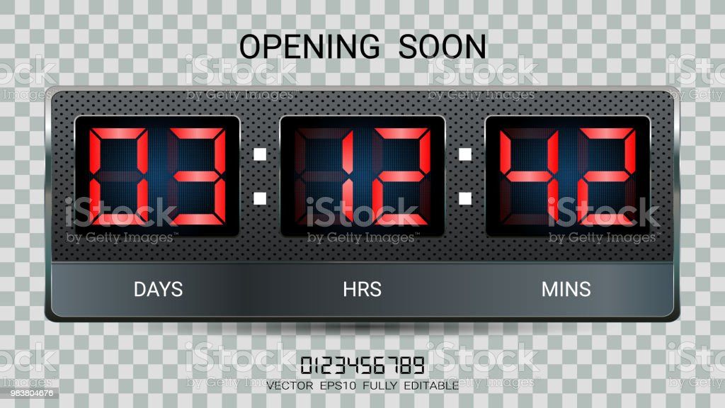 Countdown Timer Remaining Or Clock Counter Scoreboard With Hour Minutes And Seconds Display For Web Page Coming Soon Or Under Construction Eps10 Vector