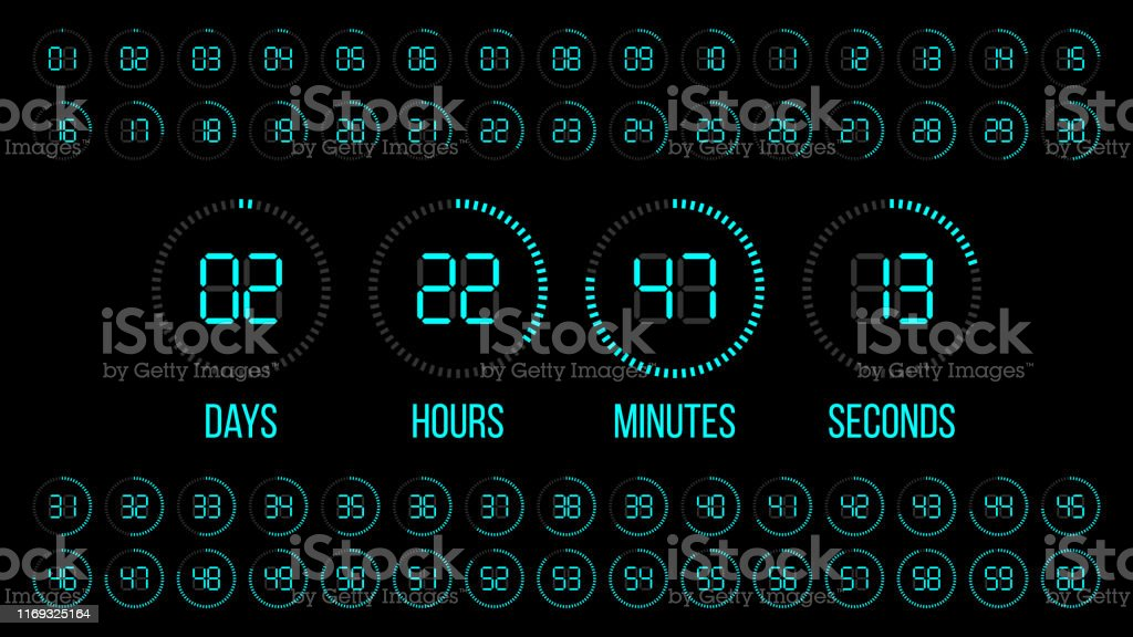 Countdown Timer Scoreboard Of Days Hours Minutes Seconds Digital Vector Clock Stock Illustration Download Image Now Istock Online calculator to convert seconds to days (s to d) with formulas, examples, and tables. countdown timer scoreboard of days hours minutes seconds digital vector clock stock illustration download image now istock