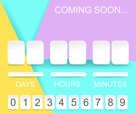 Countdown timer template. Counter design for website with numbers