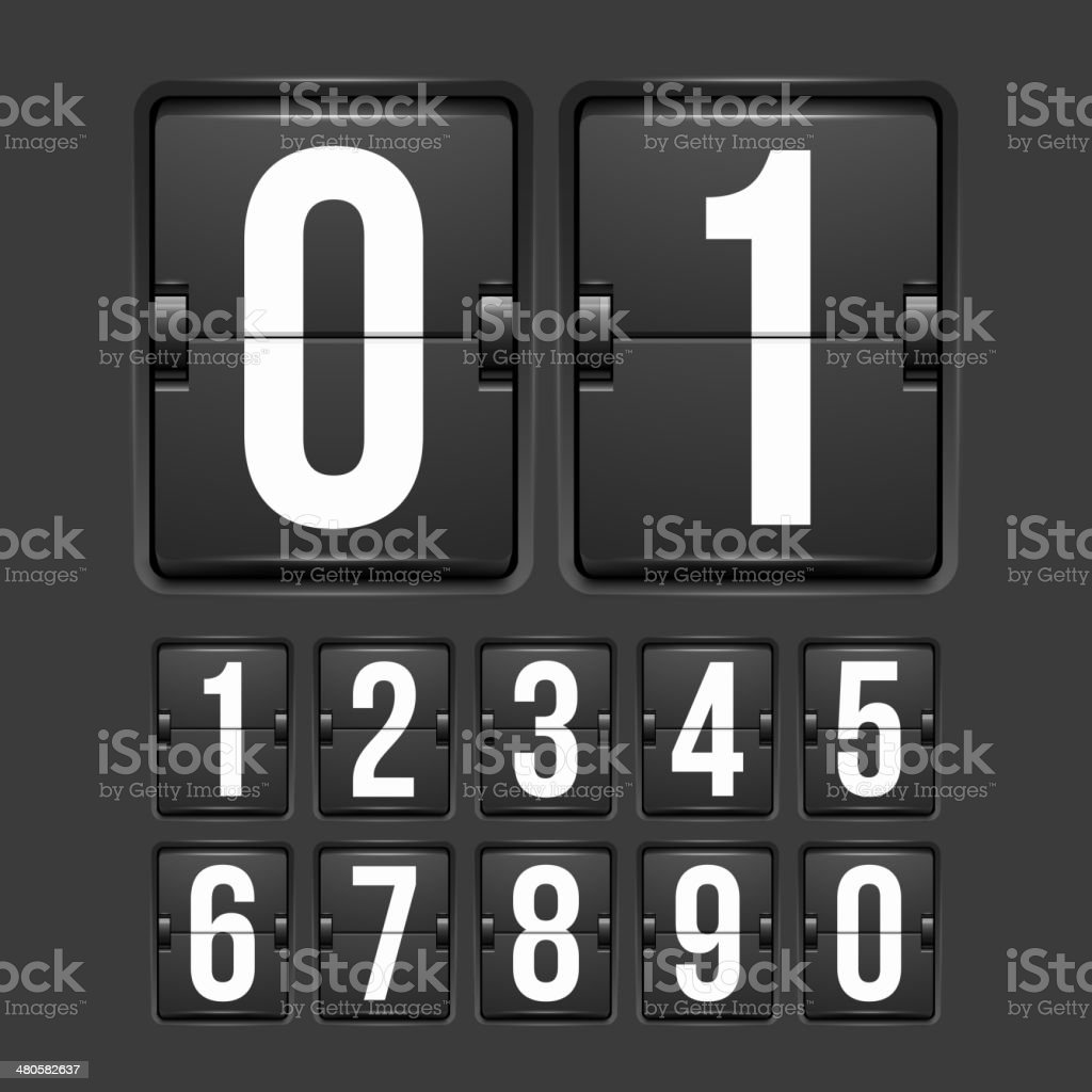Countdown timer, white color mechanical scoreboard vector art illustration
