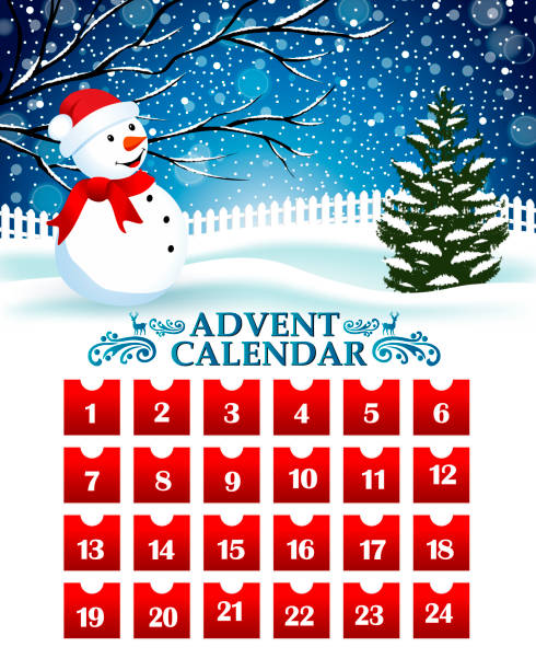 countdown to christmas day - advent stock illustrations