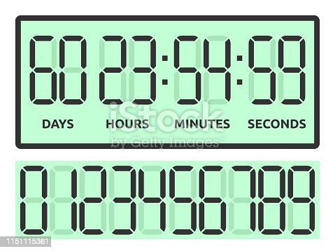 Green count down digital display with days, hours, minutes and seconds to New Year isolated on white background. Time and coming soon concept. Flat design. Vector illustration. EPS 8, no transparency