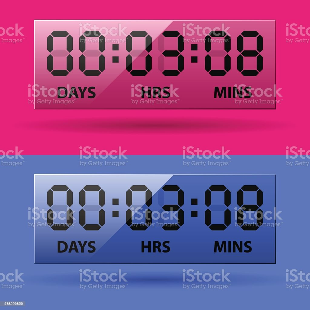 LCD counter - countdown timer vector art illustration