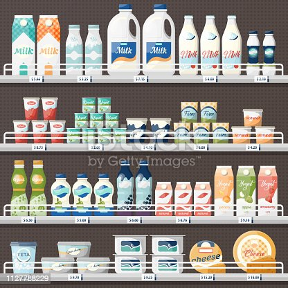 Counter with milk and yogurt, cheese