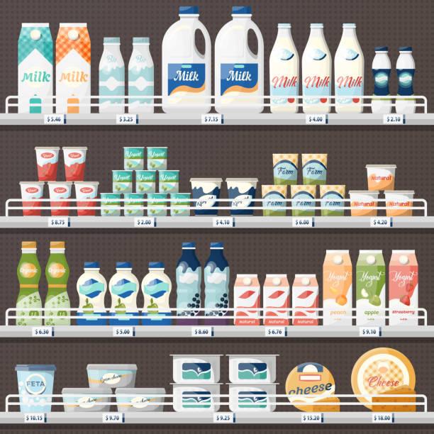 우유와 요구르트, 치즈와 카운터 - 유가공 식품 stock illustrations