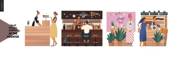 ilustraciones, imágenes clip art, dibujos animados e iconos de stock de contadores - gráficos para pequeñas empresas - small business