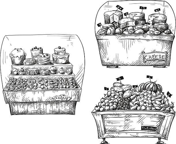 theken mit gebäck, obst und gemüse und käse.  shopwindow illustration. - pflaumenkuchen stock-grafiken, -clipart, -cartoons und -symbole