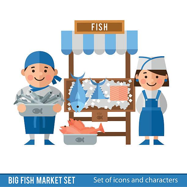 魚市場 イラスト素材 - iStock