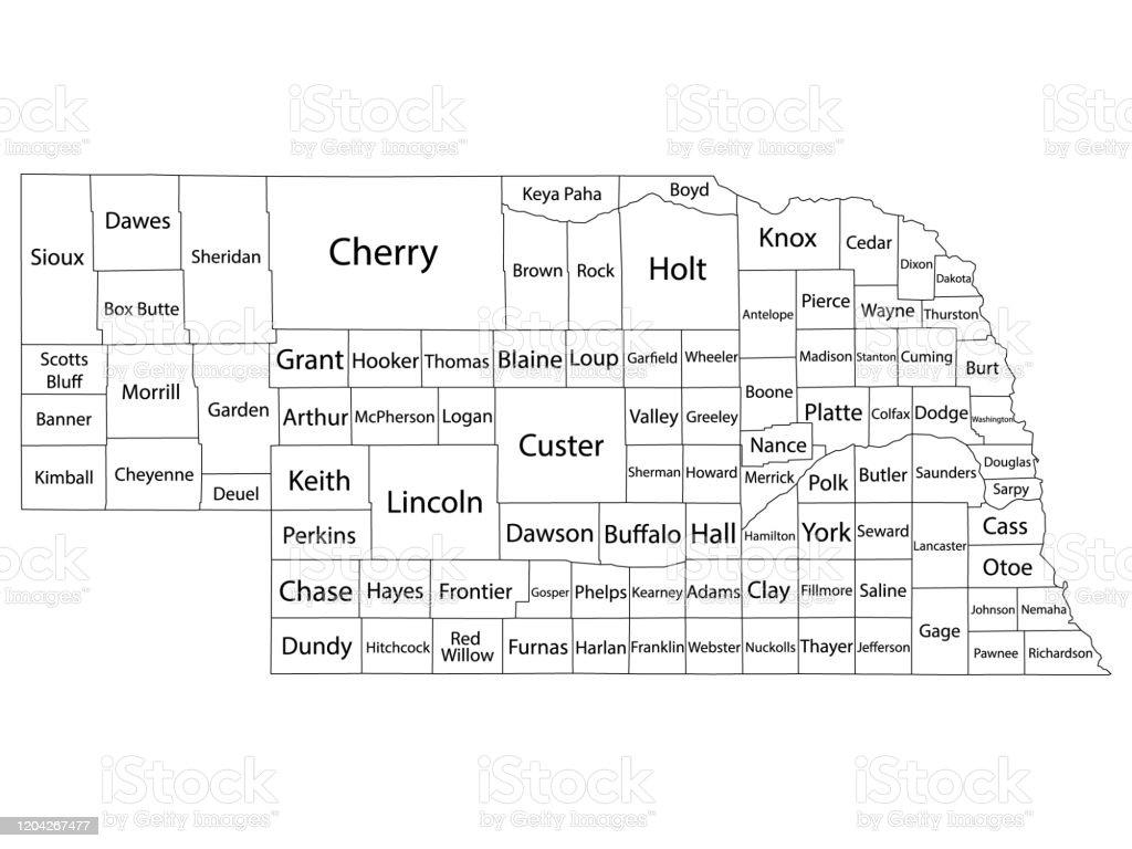 ネブラスカ州の米国の州の郡地図 - アメリカ合衆国のベクターアート ...