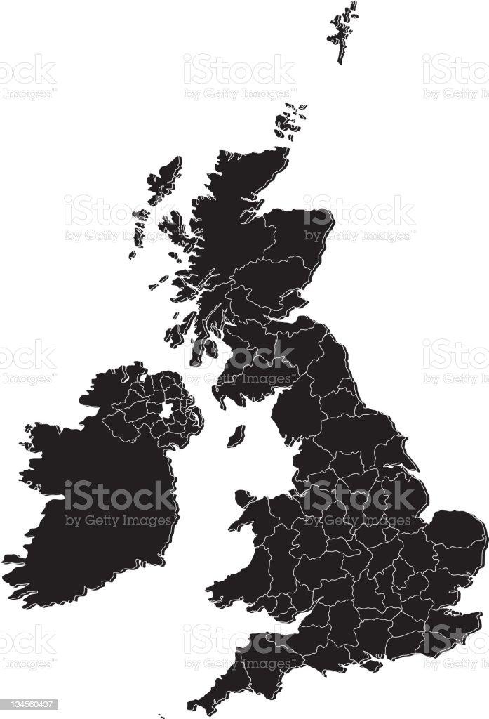 UK counties mono map royalty-free stock vector art