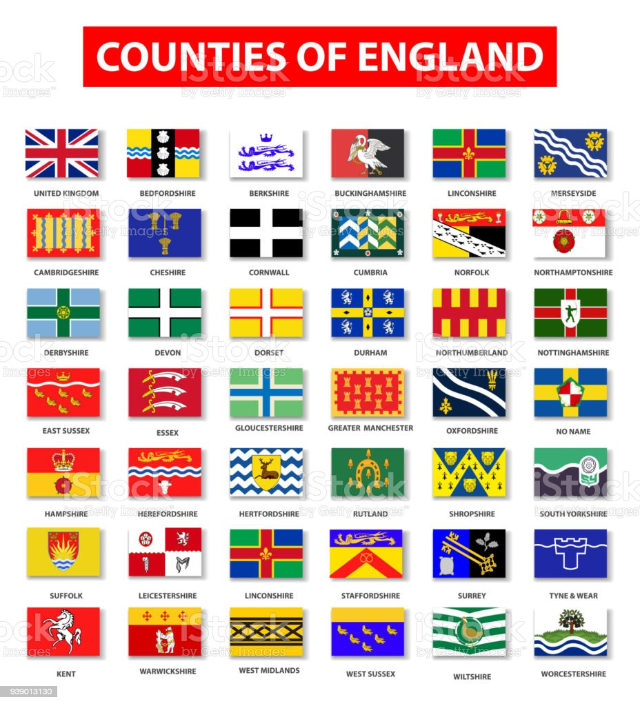 Counties of England Flag Collection vector art illustration