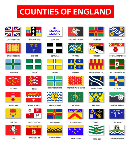 stockillustraties, clipart, cartoons en iconen met graafschappen van engeland vlag collectie - east sussex