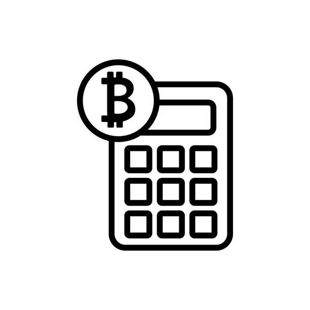 stockillustraties, clipart, cartoons en iconen met tellen bitcoin pictogram vector. geïsoleerde contour symbool illustratie - thaise munt