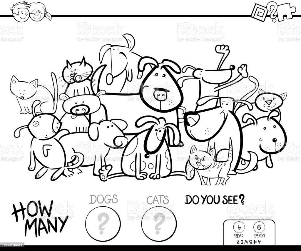 Kediler Ve Kopekler Boyama Kitabi Oyunu Sayma Stok Vektor Sanati