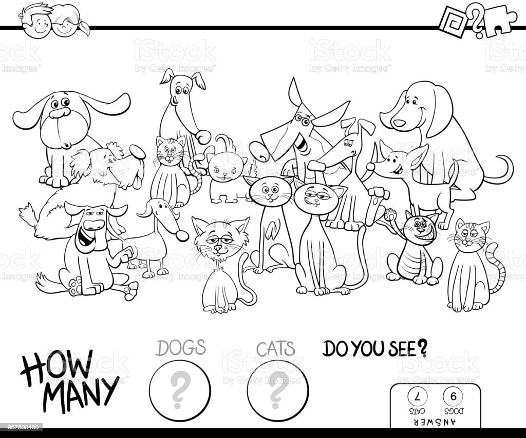Counting Cats And Dogs Game Coloring Book Royalty Free