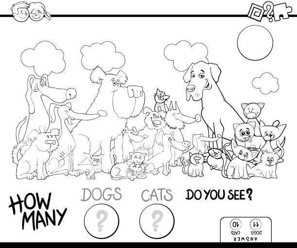 ilustraciones, imágenes clip art, dibujos animados e iconos de stock de cuenta el libro de color juego de perros y gatos - fiesta en la oficina