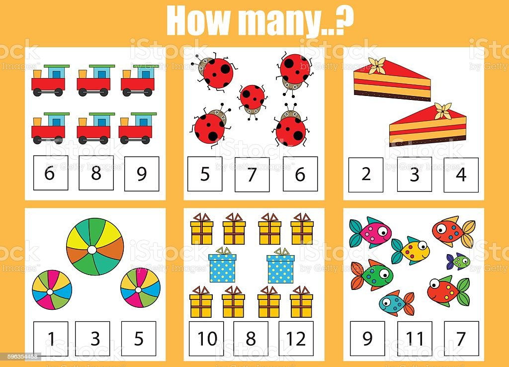 Counting educational children game, kids activity. How many objects task royalty-free counting educational children game kids activity how many objects task stock vector art & more images of education