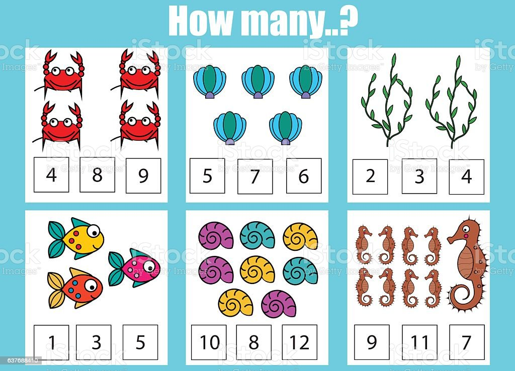 Counting Educational Children Game Kids Activity Worksheet How Many Objects Stock Vector Art