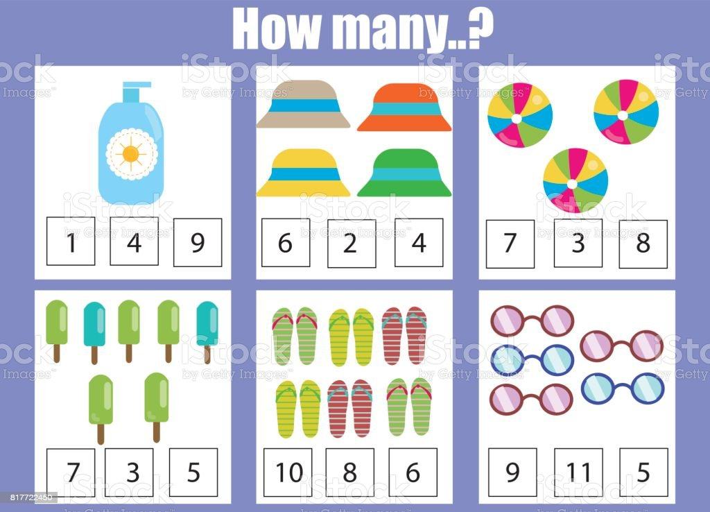 Counting Educational Children Game Kids Activity Worksheet How Many ...
