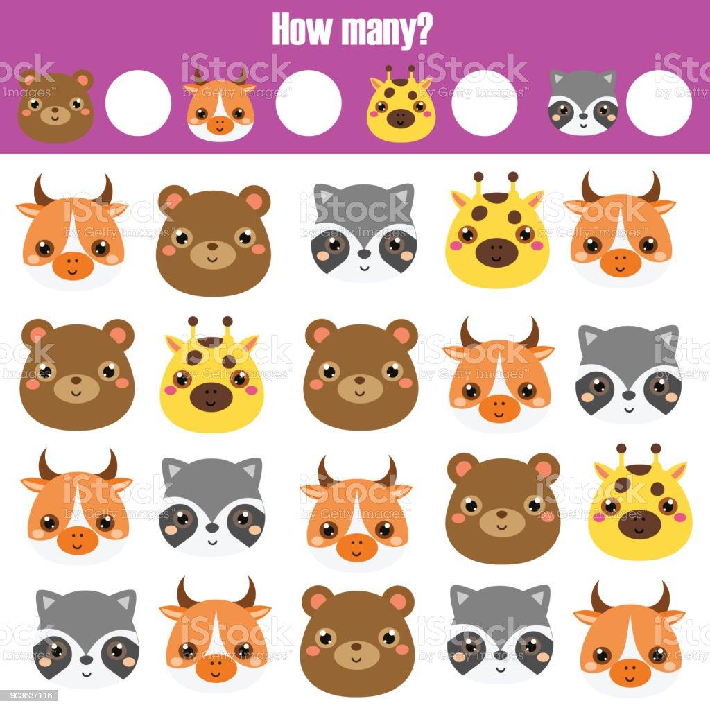 Zählen Pädagogische Kinder Spiel Kinder Aktivität Arbeitsblatt Wie ...
