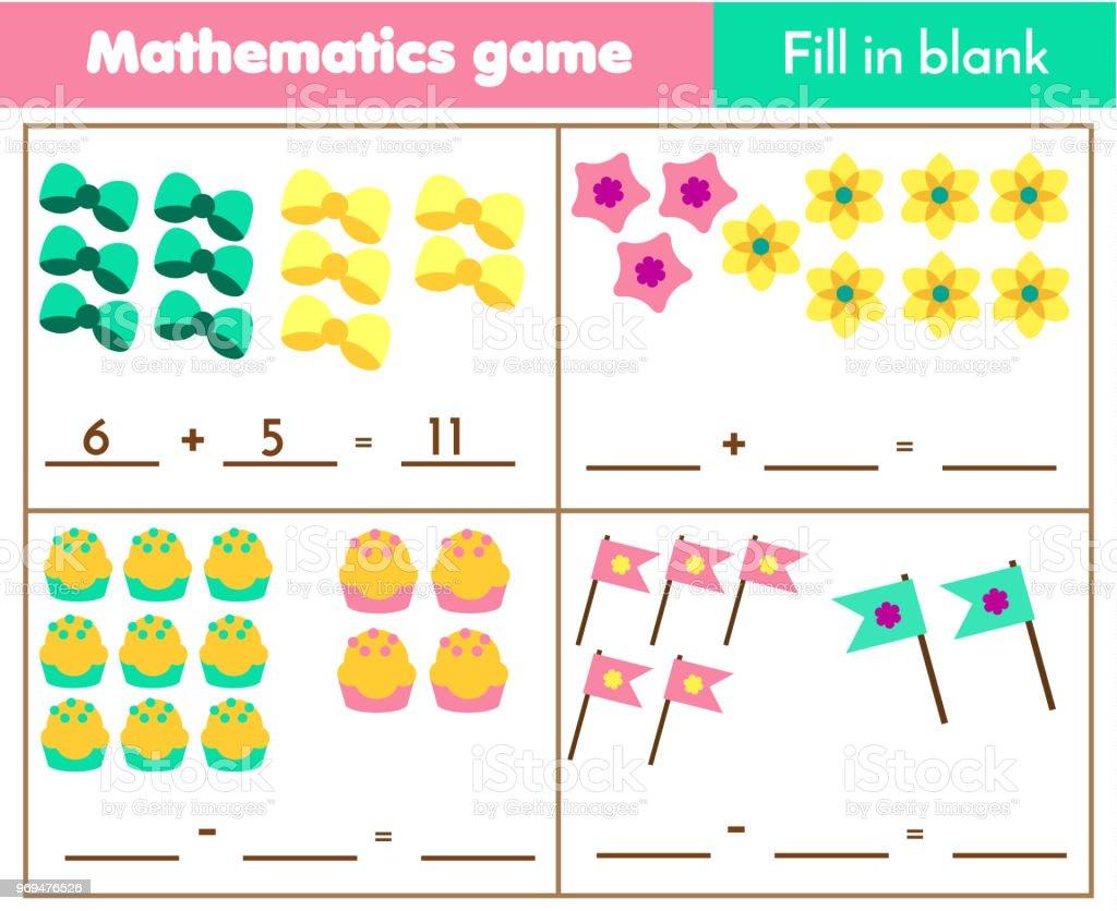 Zählen Pädagogische Kinder Spiel Kinder Mathe Aktivität Wie Viele ...