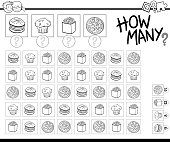 Black and White Cartoon Illustration of Educational How Many Counting Game for Children with Food Objects Coloring Book