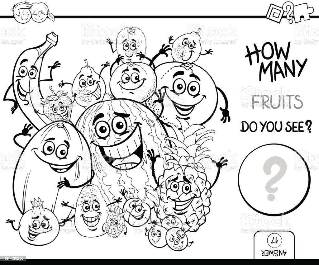 Boyama Kitabı Meyve Sayma Stok Vektör Sanatı Ananasnin Daha Fazla