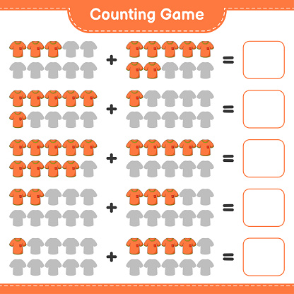 Counting game, count the number of Tshirt and write the result. Educational children game, printable worksheet, vector illustration