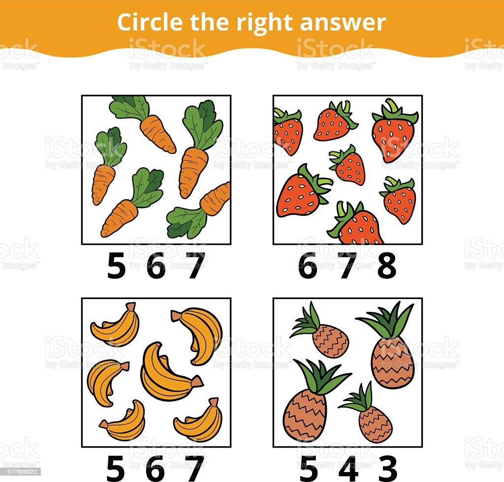 Ilustracion De Conteo De Juegos Para Ninos De Frutas Y Verduras Y