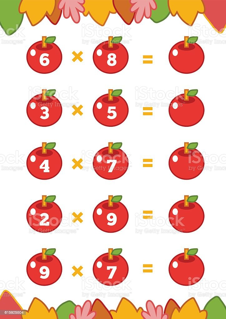 Counting Game For Children Multiplication Worksheets Stock Vector