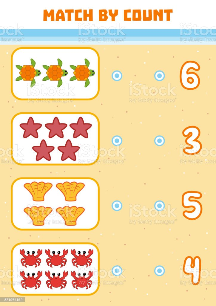 Counting Game for Preschool Children. Count sea animals in the picture vector art illustration