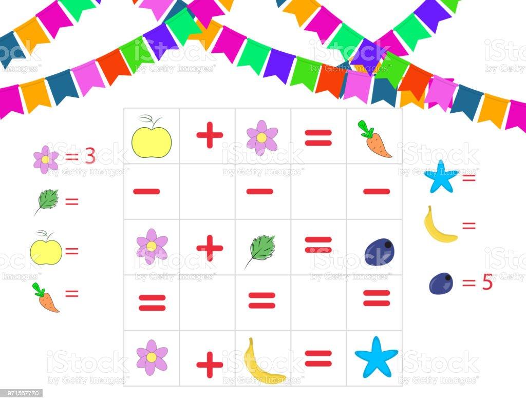 Cuenta de juego para niños en edad preescolar. Tarea de matemáticas. El número de objetos. Aprendizaje de las matemáticas, números. - ilustración de arte vectorial