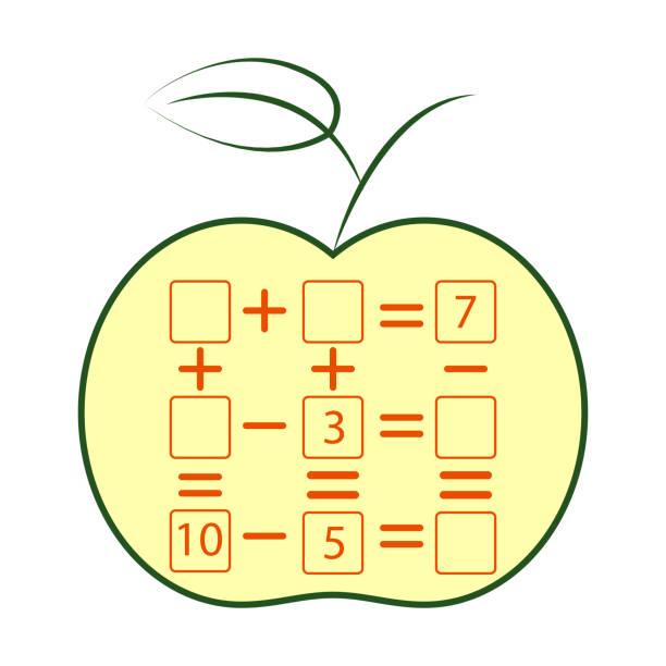 Cuenta de juego para niños en edad preescolar. Tarea de matemáticas. El número de objetos. Aprendizaje de las matemáticas, números - ilustración de arte vectorial