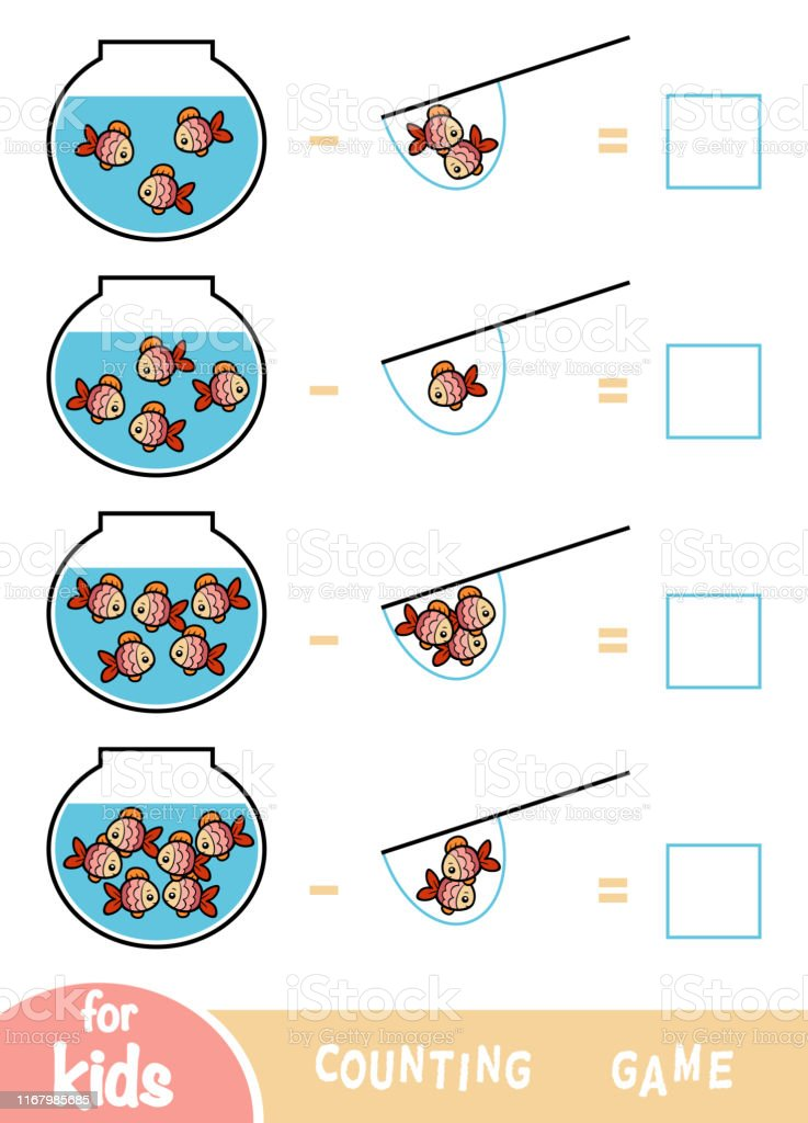 Counting Game For Preschool Children Subtraction Worksheets Fish And  Aquariums Stock Illustration - Download Image Now - IStock