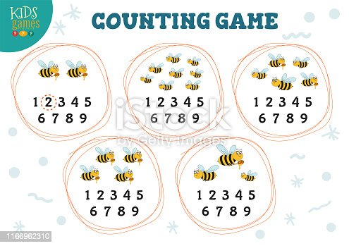 Counting game with many bees for preschools kids vector illustration. Printable educational mathematic quiz with numbers and counting test